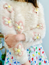 Load image into Gallery viewer, Vintage pastel pink fuzzy sweater with crochet daisies