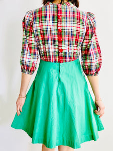 1930s Green Plaid Dress w Red Buttons and Pockets