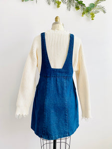 Vintage Blue Denim Dress with Adjustable Straps