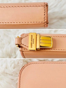 Vintage YSL Pastel Pink Leather Wallet Vintage Clutch with Gold Buckle