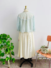 Load image into Gallery viewer, Back Details of a Vintage 1930s Pastel Blue Bed Jacket and Embroidered Skirt display on Mannequin