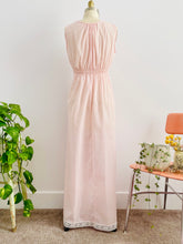 Load image into Gallery viewer, back of a vintage 1940s pink lingerie lace night gown on mannequin