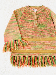 Vintage 1970s Pastel Acrylic Sweater w Fringe Candy Colors