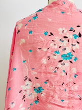 Load image into Gallery viewer, detail of a vintage 1930s pink floral silk scarf display on mannequin