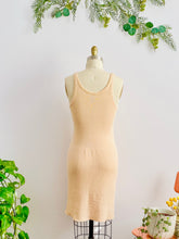 Load image into Gallery viewer, back side of 1920s peach color wool slip dress on mannequin