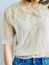 Load image into Gallery viewer, 1920s Tulle Chemical Lace Top Intricate Collar