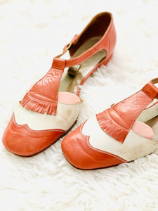 Vintage Chestnut Color Sandals Mary Janes Leather Shoes