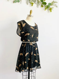Black Polka Dots Novelty Feather Print Dress