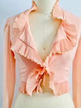 Load image into Gallery viewer, Vintage Pastel Pink Top w Mushroom Pleats Ribbon Bows