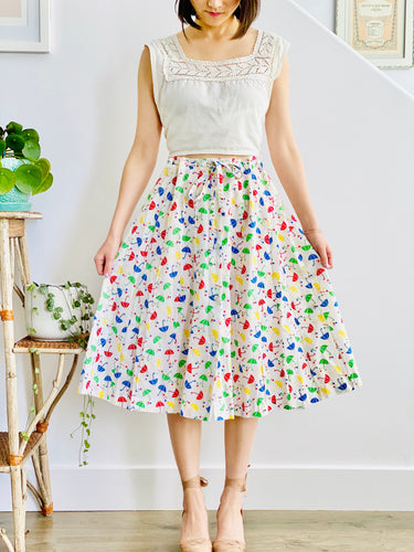 vintage 1940s novelty print skirt with white edwardian top on model