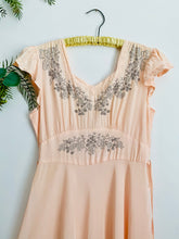 Load image into Gallery viewer, 1930s Peach Rayon Lingerie dress w Sweet Embroidery Cap Sleeves
