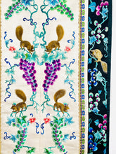 Load image into Gallery viewer, Vintage Chinese Embroidered Art with Pastel Colored Grape Vines and Squirrels