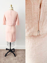 Load image into Gallery viewer, back side of a 1940s pink linen two piece set