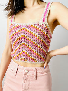 Lovely pastel pink crochet lace cropped top