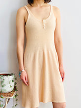 Load image into Gallery viewer, 1920s peach color wool slip dress on model