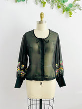 Load image into Gallery viewer, Vintage 1970s semi sheer blouse with embroidered sleeves