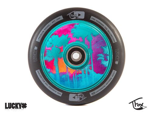Pro Scooter Wheel - Teal TFOX Sig - LUNAR™ by Lucky Scooters