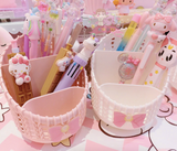 White and Pink Bow Pen Pencil Pot Tub Stationery Basket Makeup Brush Holder