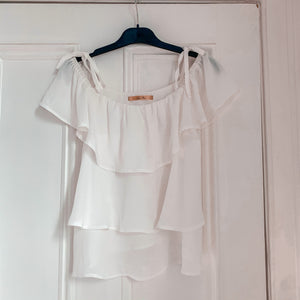 Luxe Rose White Floaty Top