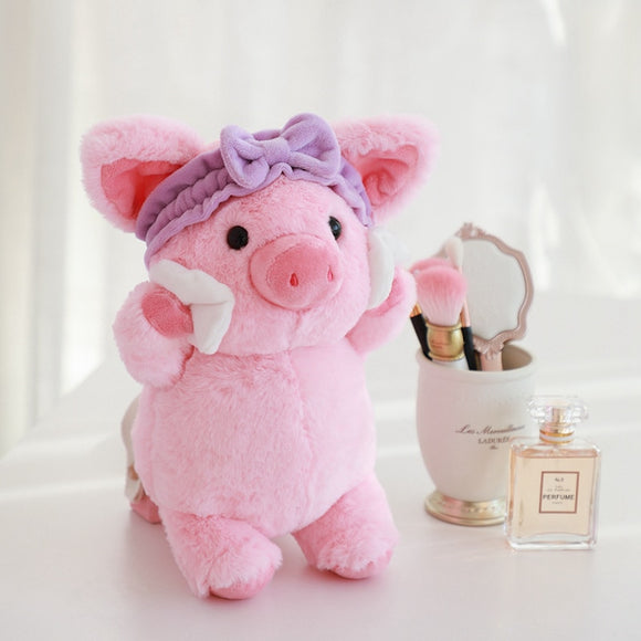 Plush Make Up Pig toy Creative Cosmetic Promotional Gifts Cute Soft High Quality Headband Pink Pig Cotton pad Makeup Toy for Her