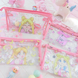 Sailor Moon Waterproof Cosmetic bag Transparent Pouch Twin Stars Travel Storage Bags Anime