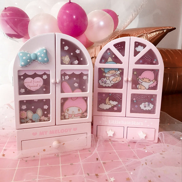 Japanese My Melody Little Twin Stars Wooden Box with Drawers Jewellery Box