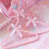 Pink Pearl With Bow Clothes Hangers