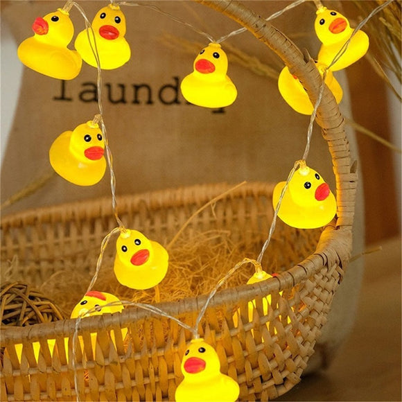 10Leds/20Leds Mini Yellow Duck LED String Light Glow Indoor Outdoor Xmas Wedding Party Battery Operated LED Fairy Light