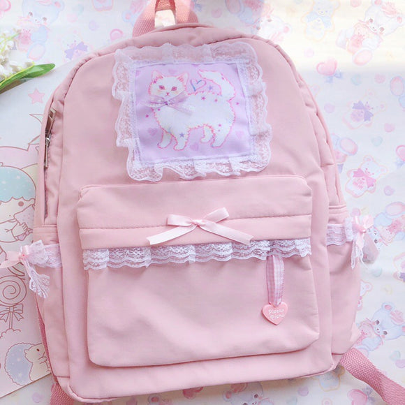 Japanese Woman Sweet Pink Backpack Original Cute Cat Lace Bow Nylon Bag Kawaii Student Daily Back Pack Sweet Girl Style Backpack