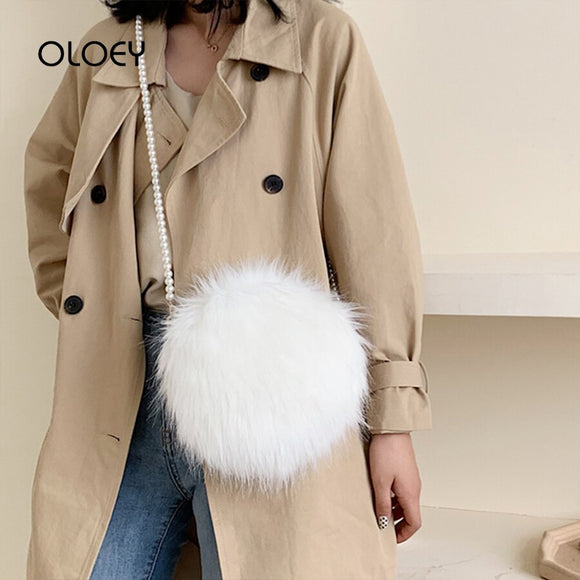 Faux Fur Fluffy White Bag Crossbody Handbag Pearl Strap