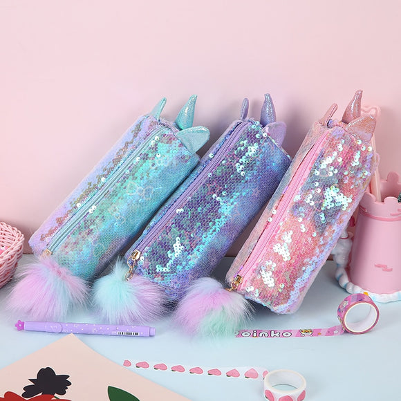 Unicorn Sequins Pencil Case Preppy Cute Girls Makeup bags Cosmetic Case School Student Writing Bag Drop Shipping