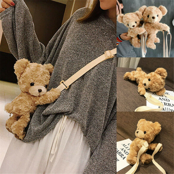 Plush Brown Teddy Bear Bag Crossbody Handbag Fur