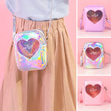Irridescent Holographic Crossbody Handbag Bag Heart Pink Lilac