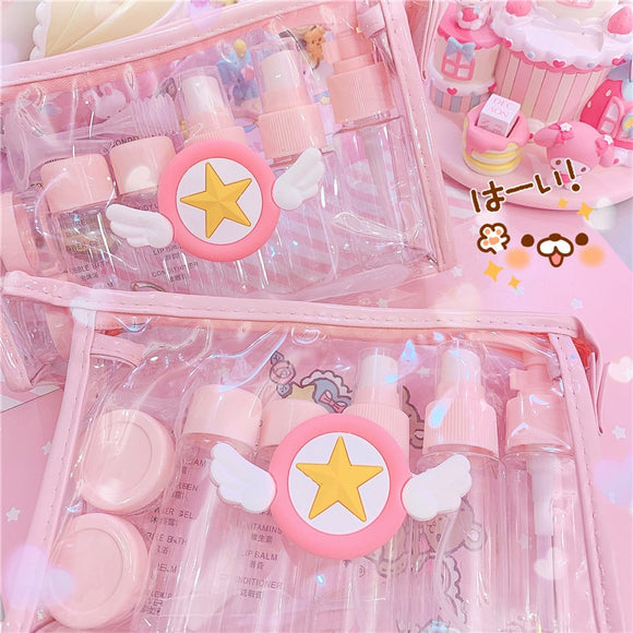 Pink Cartoon Empty Travel portable bottlings Sets for Girls Cosmetic Storage Bags 10pcs/set