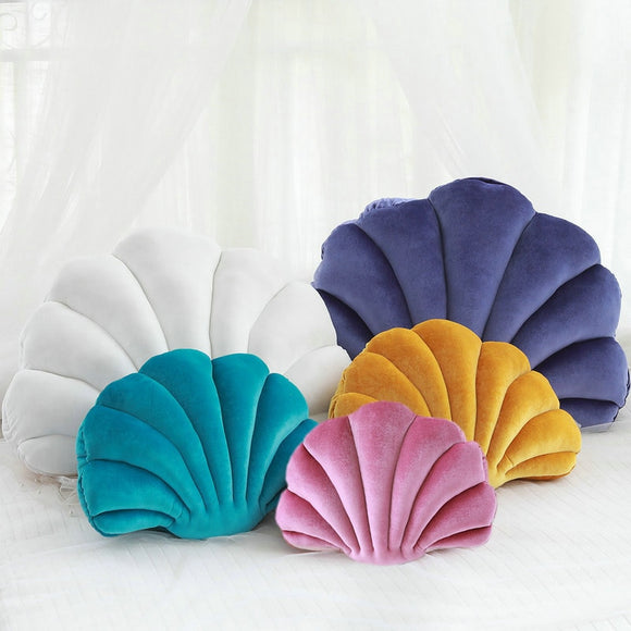 Velvet Shell Mermaid Cushion Plush
