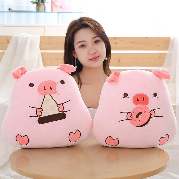 40cm Cute Pink Piggy Plush Pillow Soft Stuffed Cartoon Pig with Donuts/Sandwich Toys Chinese Zodiac Pig Doll Birthday Gift Kid