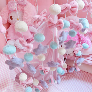 Lovely Pink Stars Bow Hanging Curtain Girl's Bedroom Children's Room Hanging Curtain Partition Curtain Decor