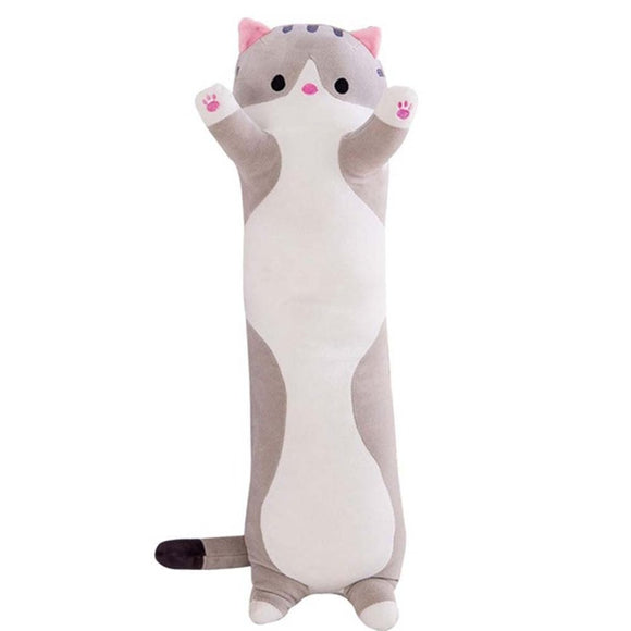 Kitten Cat Grey Stripey Pillow Cushion Plush Long Pink Paws 50cm