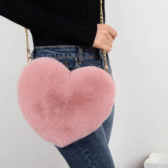 Faux Fur Heart Bag Furry With Gold Chain Handbag Crossbody