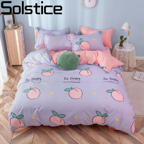 Cute Bedding Bedsheets Bed Set - Peach, Flowers, Stars Kawaii