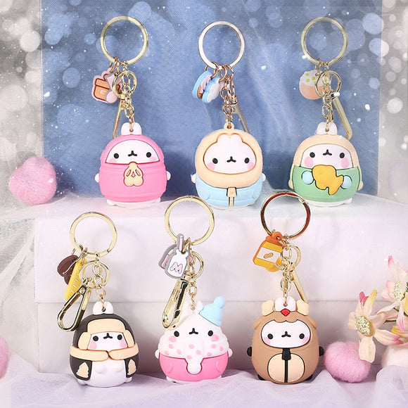 2020 Molang Rabbit Korean Cartoon Keychain Cute And Exquisite Pvc Cartoon Doll Key Chain Hanging Decoration Keyring Accessories