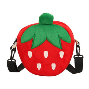 Red Strawberry Plush or Orange Carrot Crossbody Bag