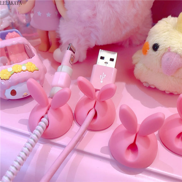 4pcs Pink Bunny Ear Rabbit Desktop Data Cable Holder Creative Action Figure Cute Headphone USB Charger Cord Protection Organizer