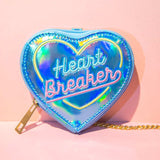 Heart Shaped Wallet Coin Purse Zipped Irridescent Pouch 11cm