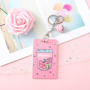 Pink Magical Girl ID Badge Travel Pass Lanyard Keychain