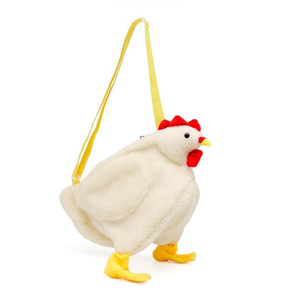 White Chicken Chick or Duck Goose Plush Handbag Crossbody Bag