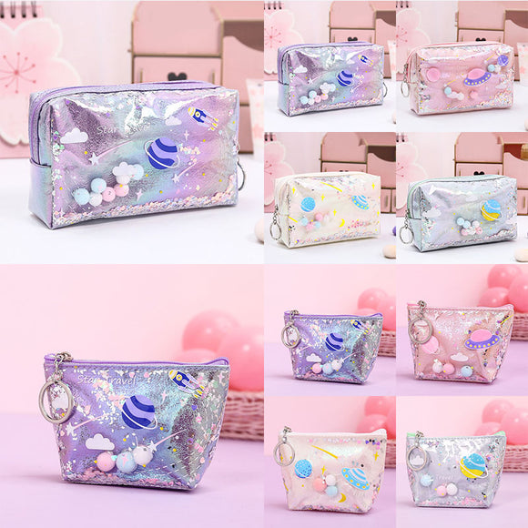 2020 Pencil Case For Kids Laser Leather Pen Box Big Makeup Bag For Girls Gift Coin Bag Fashion PVC Toiletry Cosmetic Bag Case