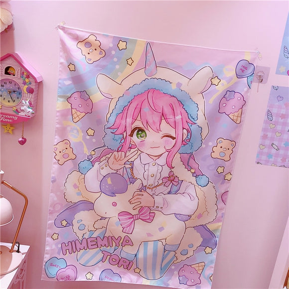 Wall Hanging Blanket Home Decoration Towel Mat Anime Sanrio