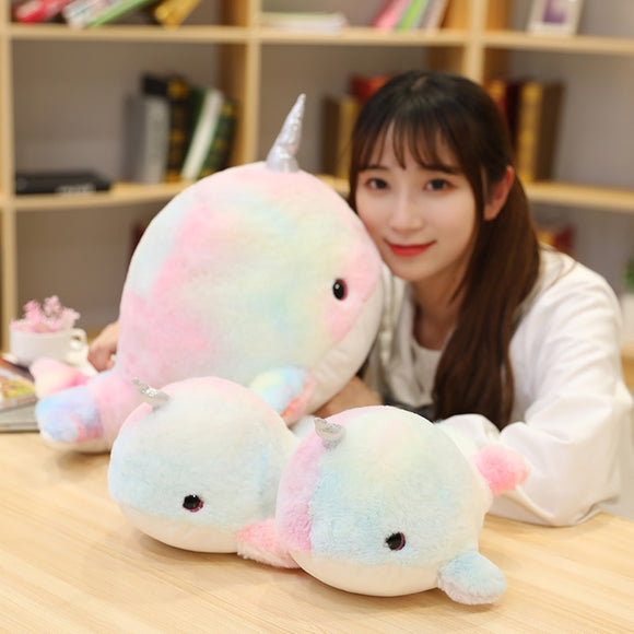 28/45cm Cute Colorful Narwhal Plush Toys Stuffed Whale Unicorn Fish Doll Soft Animals Pillow for Baby Girls Kids Birthday Gift