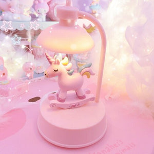 New kawaii cartoon melody Unicorn action figure led light music function for kids birthday gifts